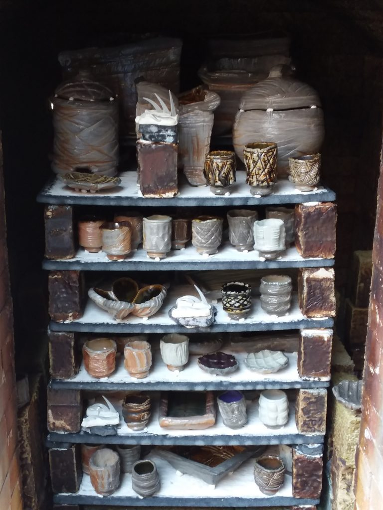 recent soda fired kiln image, right after opening the door